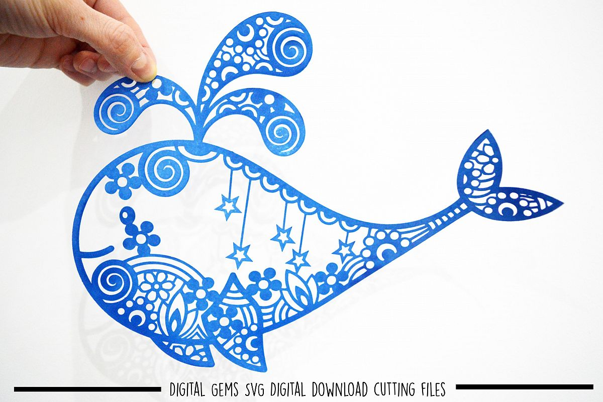 Whale paper cut SVG / DXF / EPS files example image 1