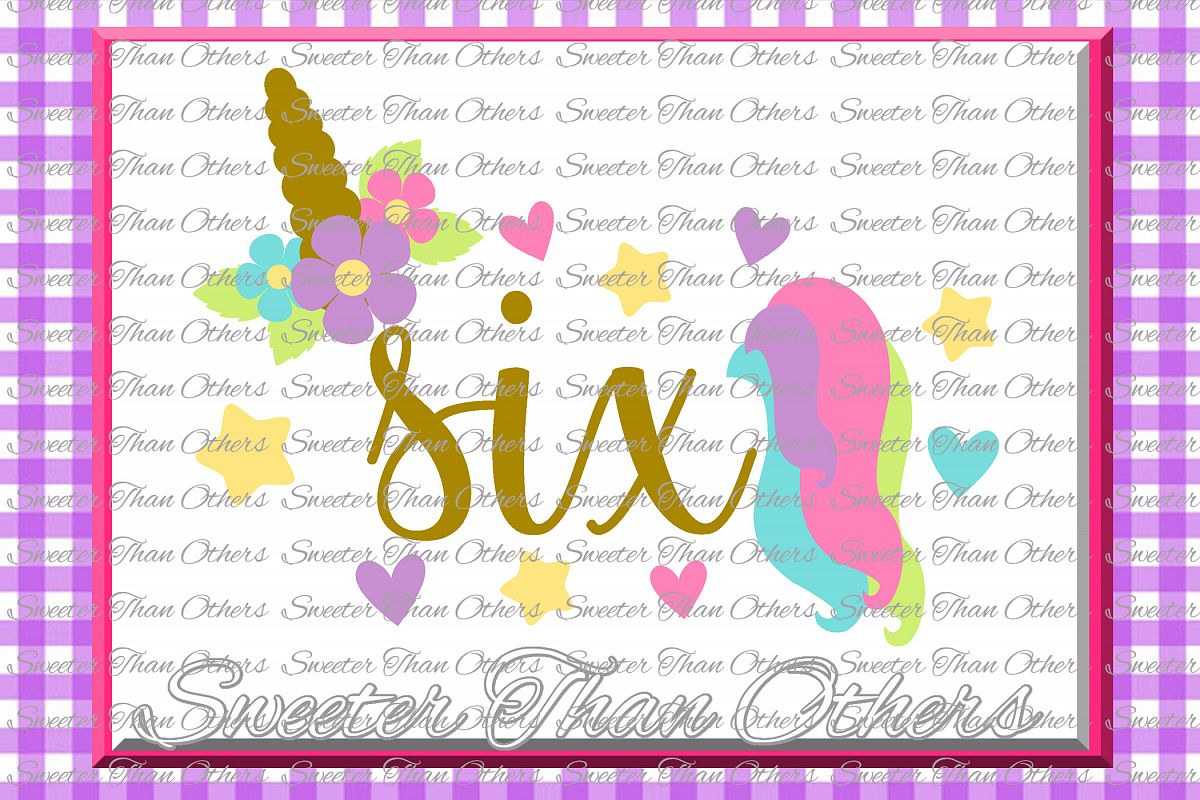 Sixth Birthday SVG, 6th Birthday Unicorn svg example image 1