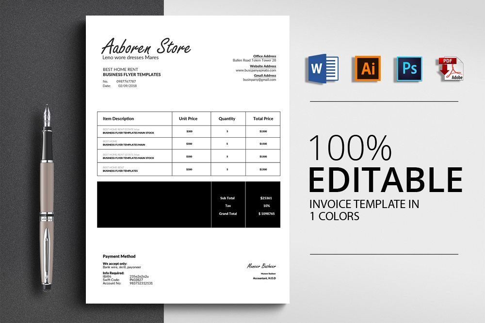 Word Format Invoice Template example image 1