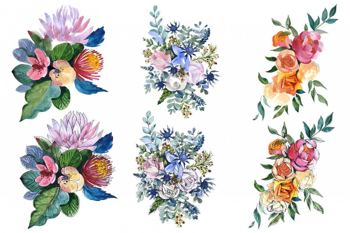 Bouquets with wildflowers, Roses, leaves Watercolor png example image 1