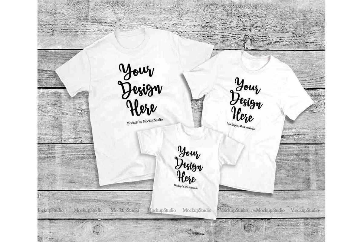 Matching Family White T-Shirts Mockup, Parents Kids Shirts example image 1
