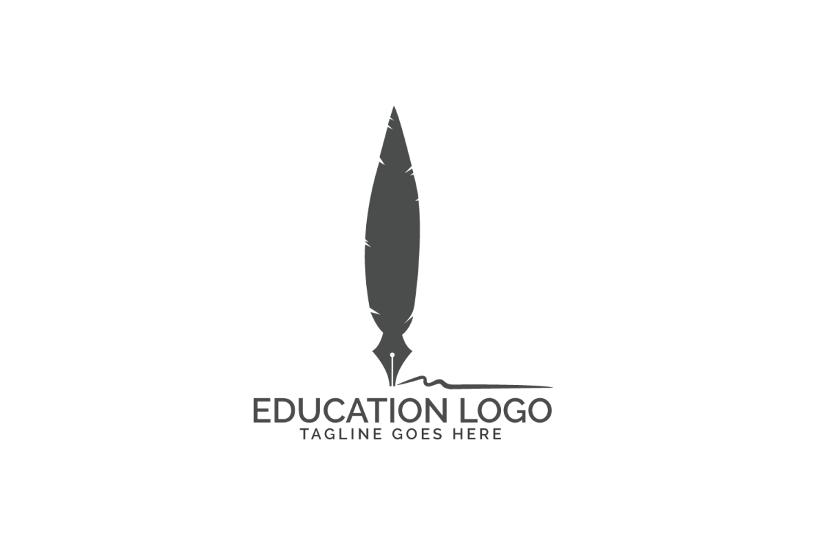 Quill Feather Pen Logo design. example image 1