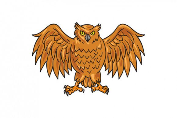 Angry Owl Wings Spread Drawing example image 1