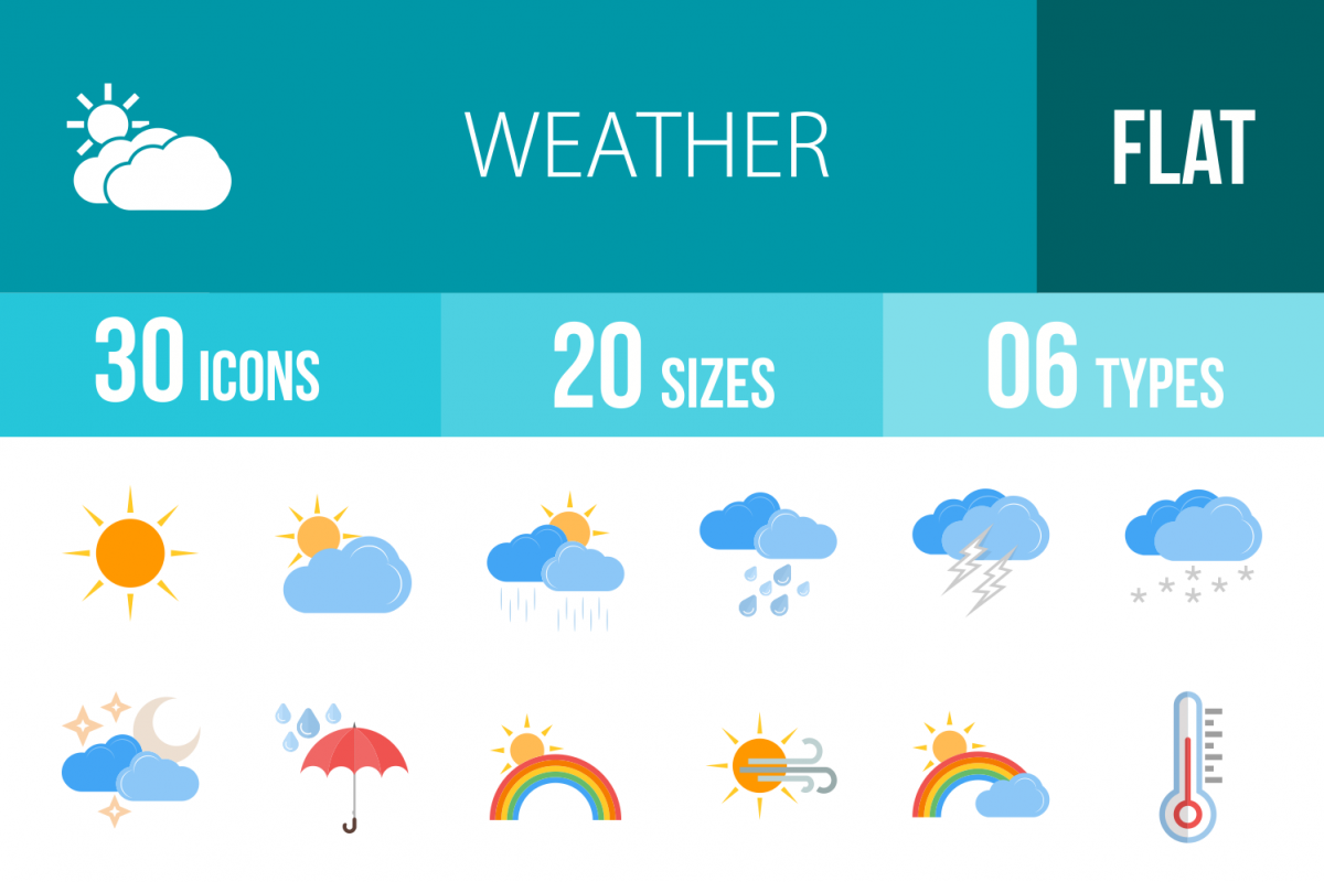30 Weather Flat Multicolor Icons example image 1