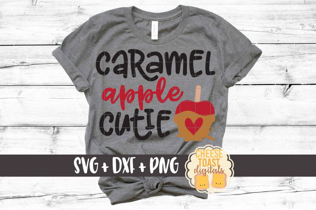 Caramel Apple Cutie - Girl Fall SVG PNG DXF Cut Files example image 1