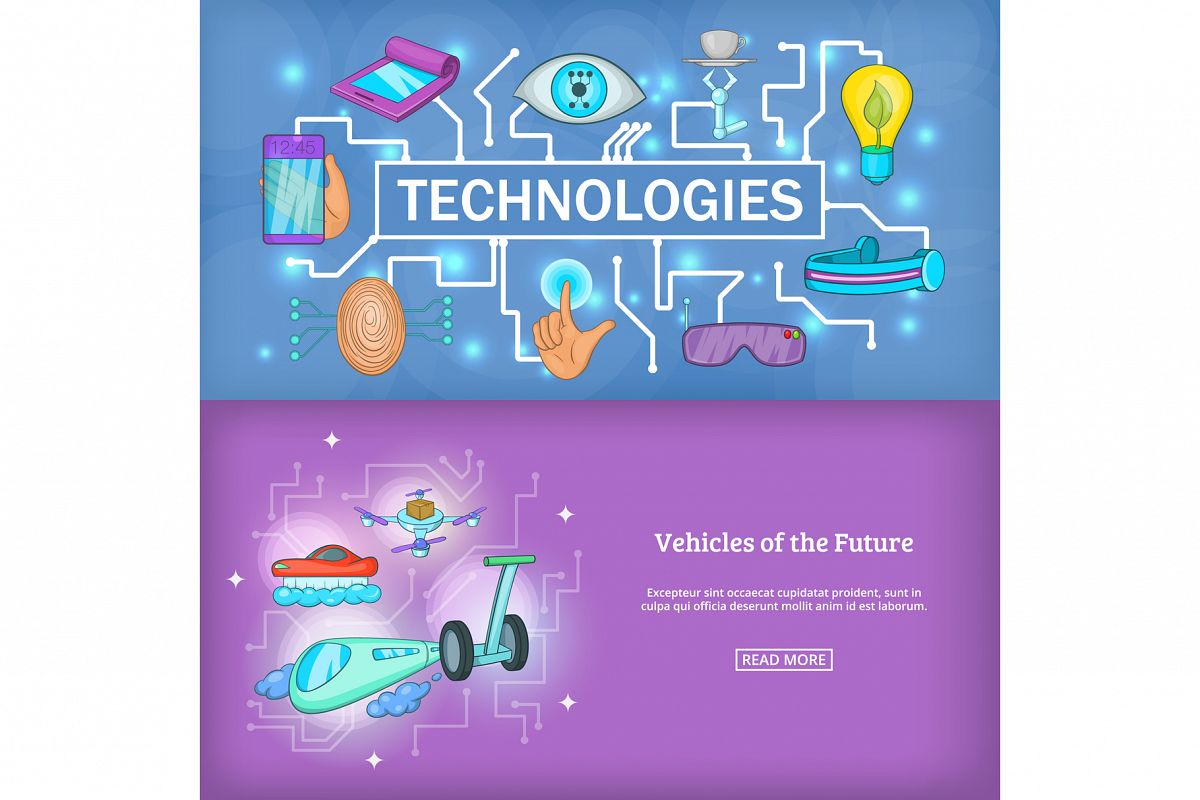 Technology banner set template, cartoon style example image 1