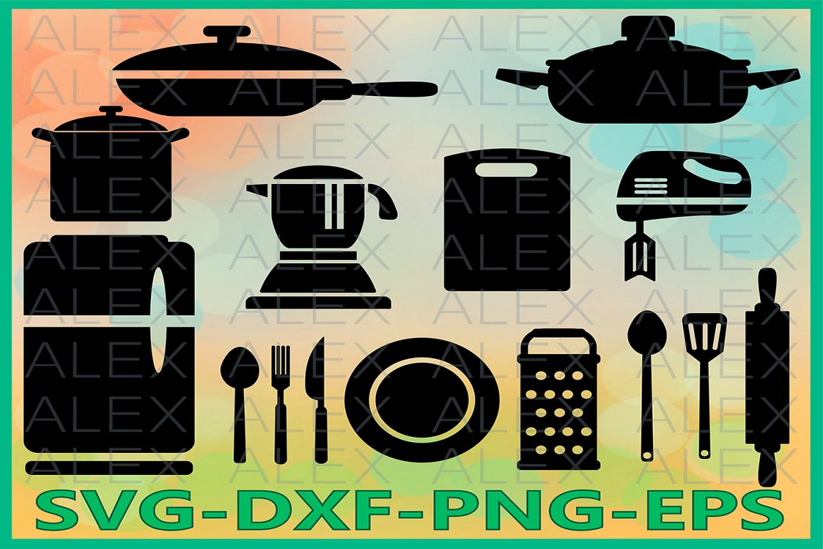 Kitchen SVG, Kitchen Silhouette Cutting File example image 1
