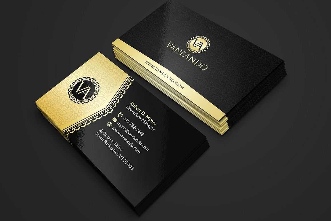 gold and black business card example image 1 - Fancy Business Cards