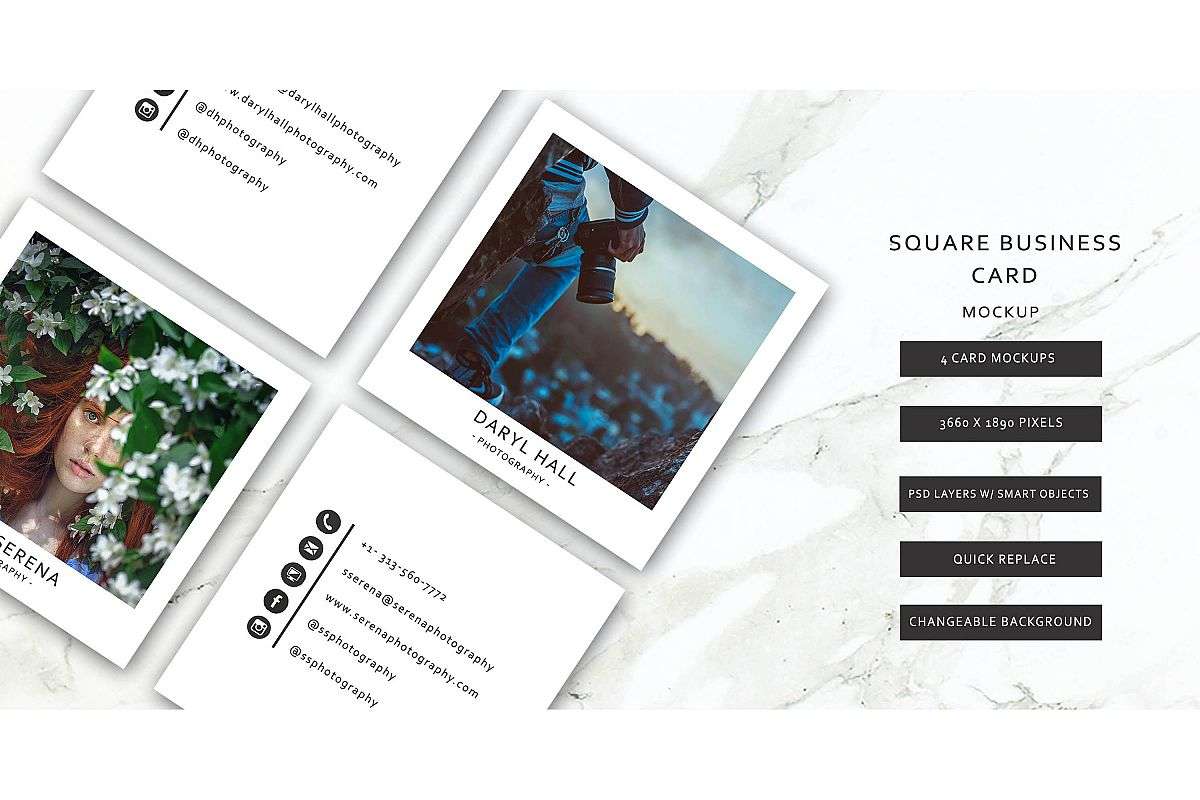 Business Card Template/ Polaroid Template example image 1