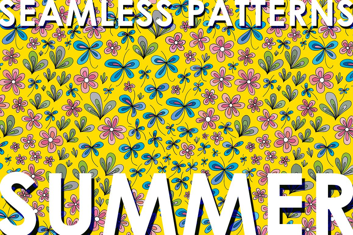 Floral summer patterns set example image 1
