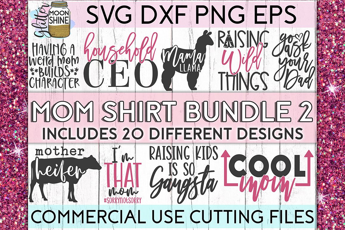 Mom Shirt Bundle of 20 #2 SVG DXF PNG EPS Cutting Files example image 1