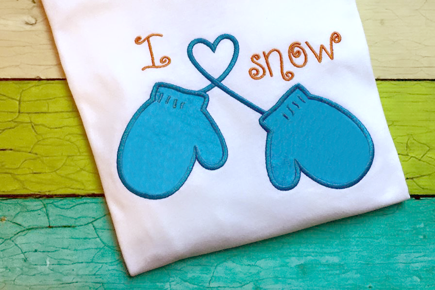 I heart snow winter mittens applique embroidery