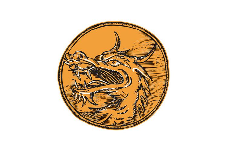 Chinese Dragon Head Circle Etching example image 1