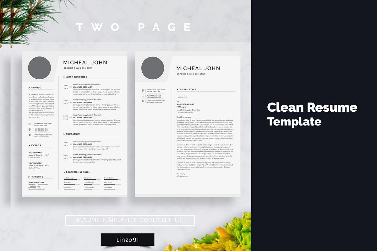 minimal resume 3 pages / cv template for word / two page resume+