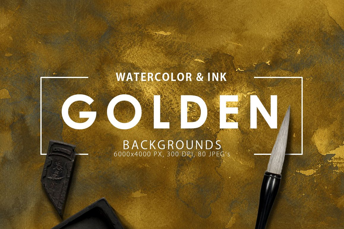 Golden Watercolor & Ink Backgrounds example image 1
