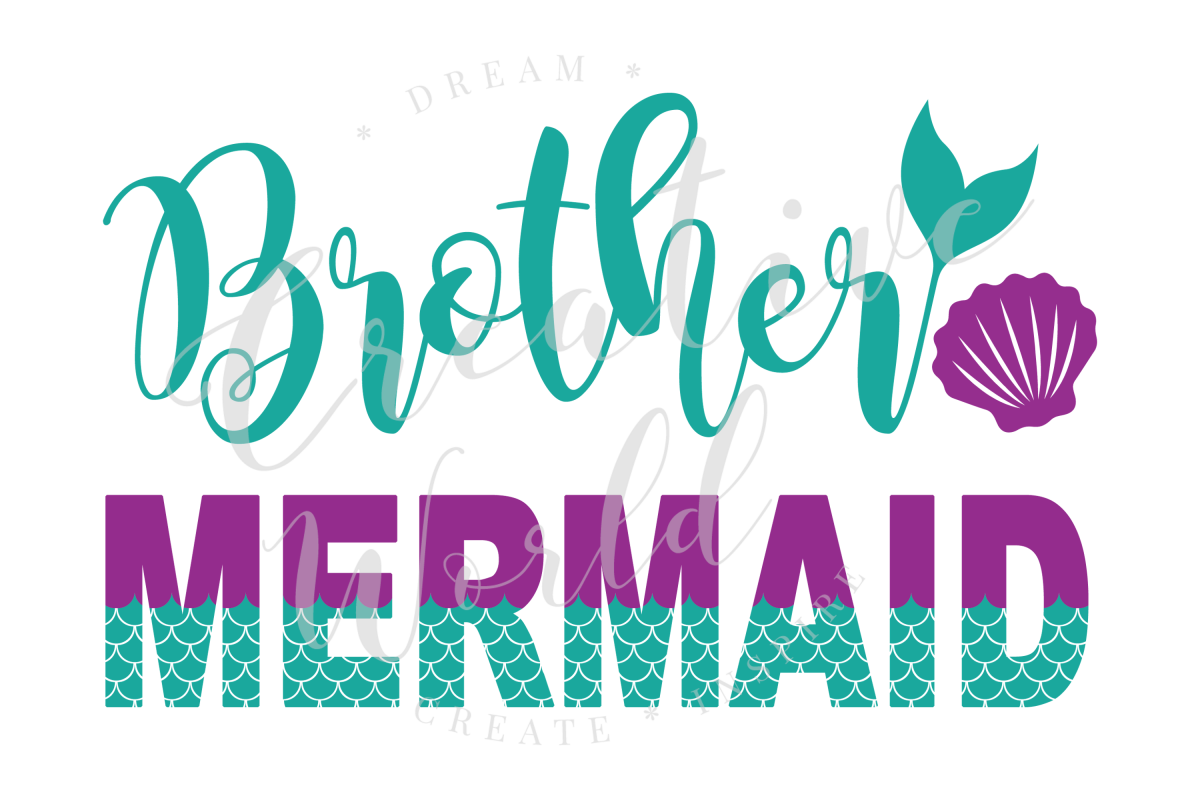 Brother Mermaid SVG | Mermaid Birthday Girl svg example image 1