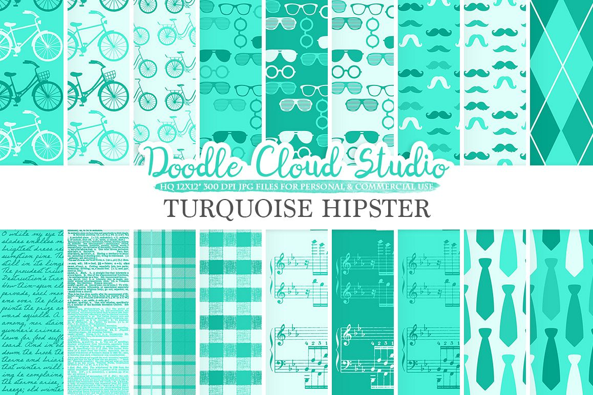 Aqua Hipster digital paper Father's day tie mustaches bikes music glasses plaid Turquoise pattern Instant Download Personal & Commercial Use example image 1