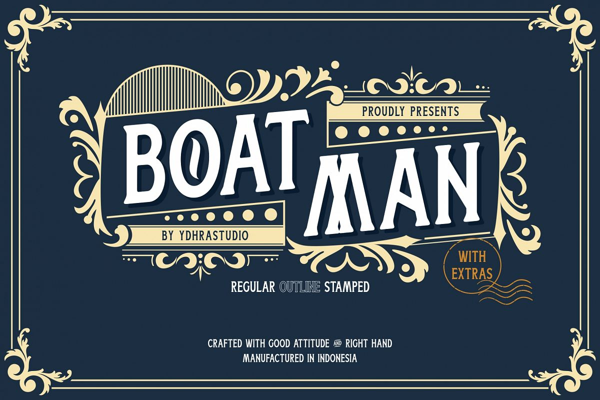 Boatman Font 3 Styles Extras example image 1