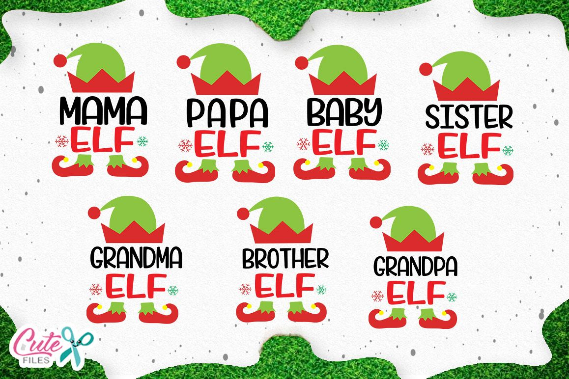Christmas Family elf, cuts files for craftters example image 1