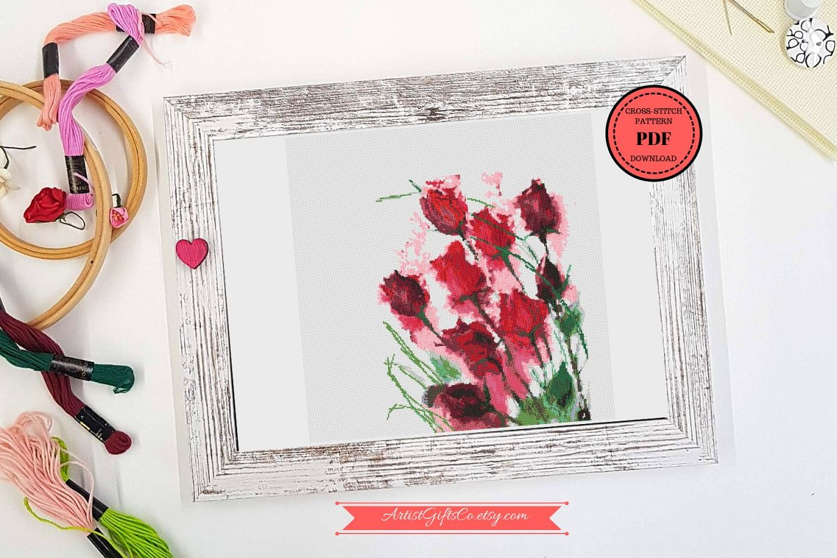 Red roses bouquet cross stitch pattern pdf beautiful flower red roses bouquet cross stitch pattern pdf beautiful flower example image 1 izmirmasajfo