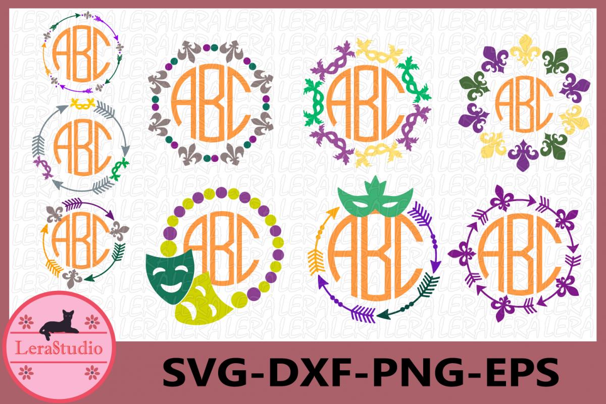 Mardi Gras Monogram Svg, Mardi Gras Clip Art, Silhouette example image 1