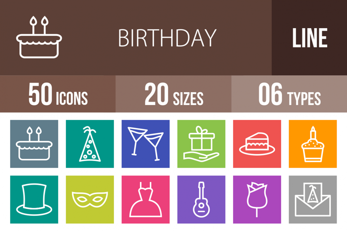 50 Birthday Line Multicolor B/G Icons example image 1