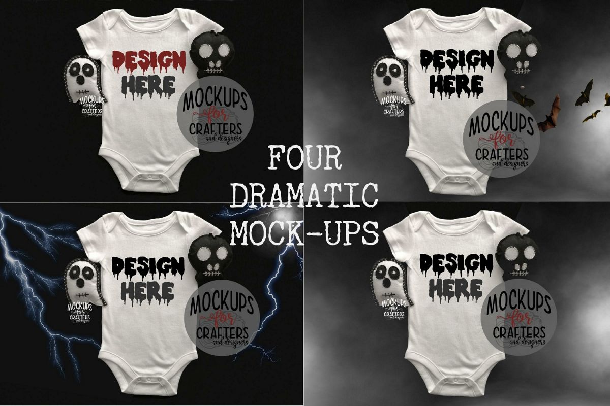 FOUR MOCK-UPS mini pack - Baby Outfit - Halloween Effects
