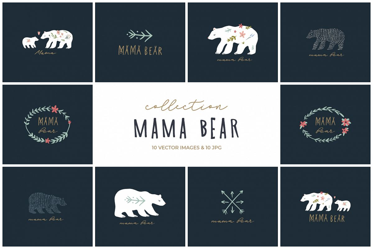 Mama bear clip art, nursery animals, vector graphics example image 1