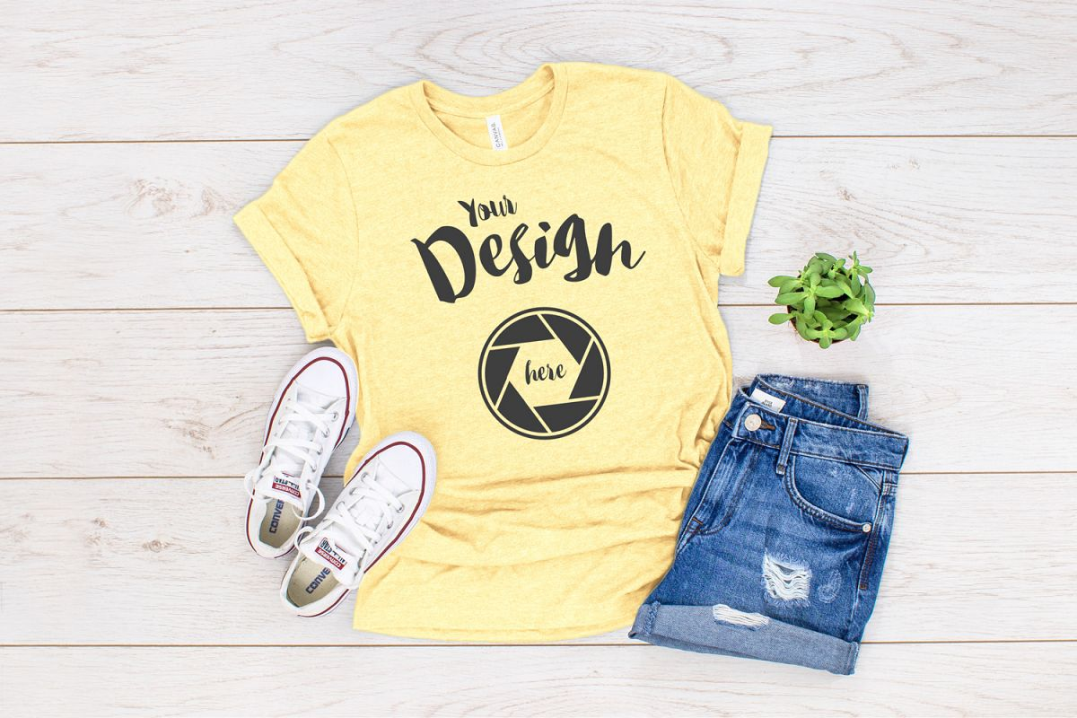 Pale Yellow Bella Canvas 3413 T Shirt Mockup example image 1