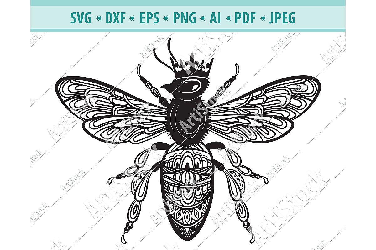 Bee Mandala Svg, Bee Mandala Svg, Zentangle Dxf, Png, Eps example image 1