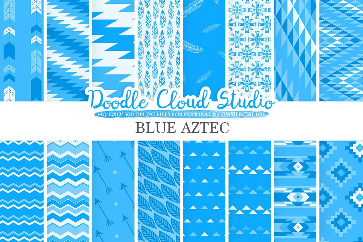 Blue Aztec digital paper Tribal patterns native  triangles geometric ethnic arrows background Instant Download for Personal & Commercial Use example image 1
