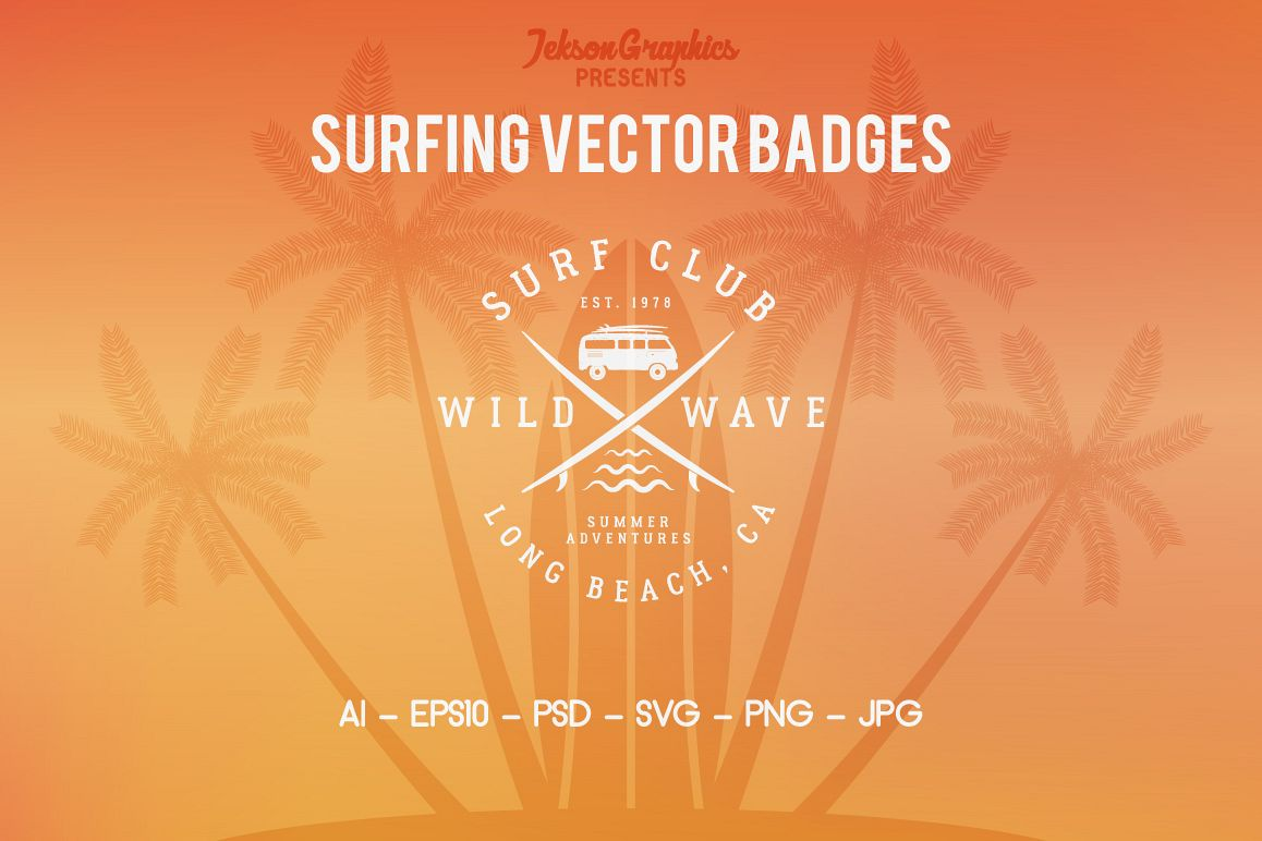 Summer Surfing Badges & Elements example image 1