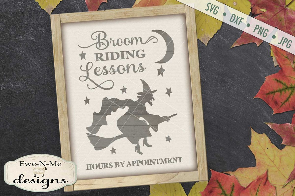 Broom Riding Lessons Witch Halloween SVG DXF Files example image 1