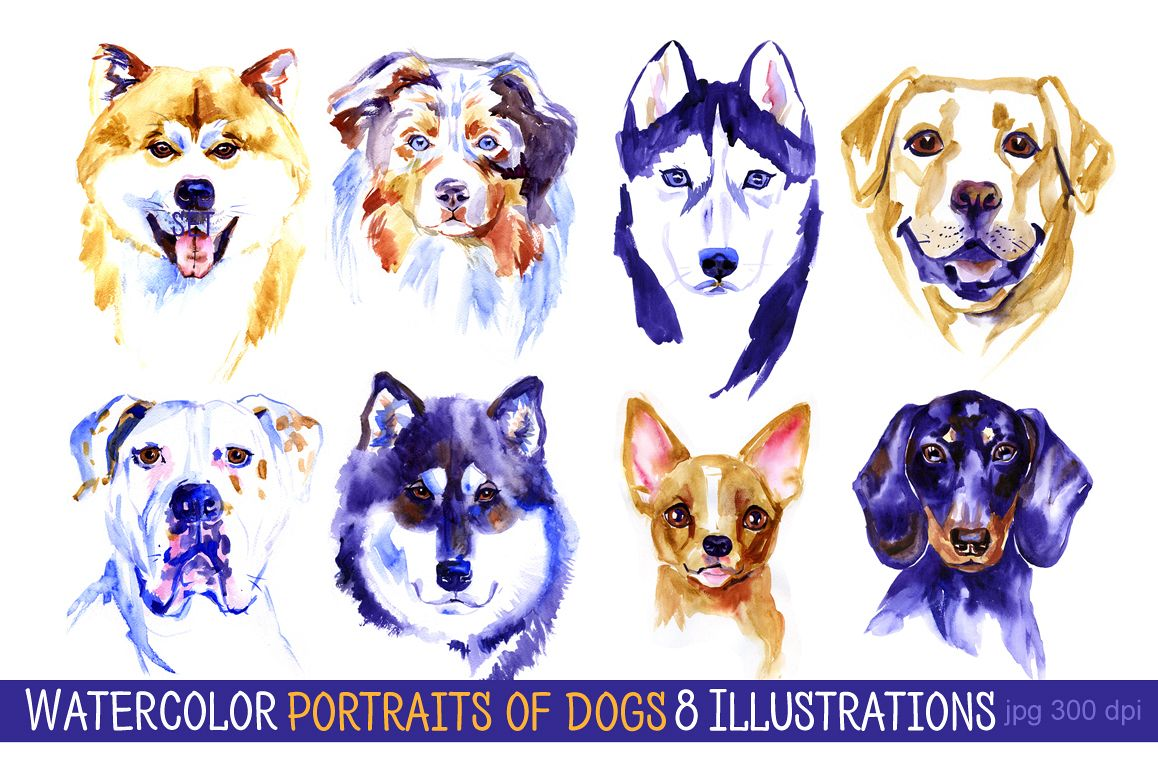 Watercolor dogs set example image 1