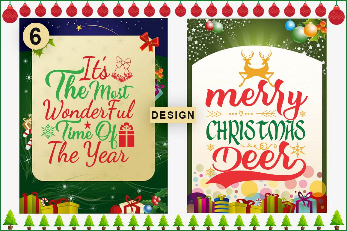 6 Christmas Quotes SVg Design example image 1