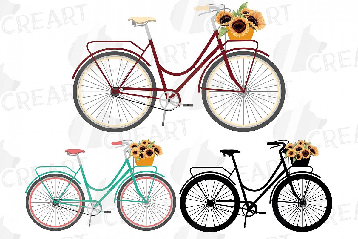 Sunflower bouquets bicycles clip art. Floral bikes decor png example image 1