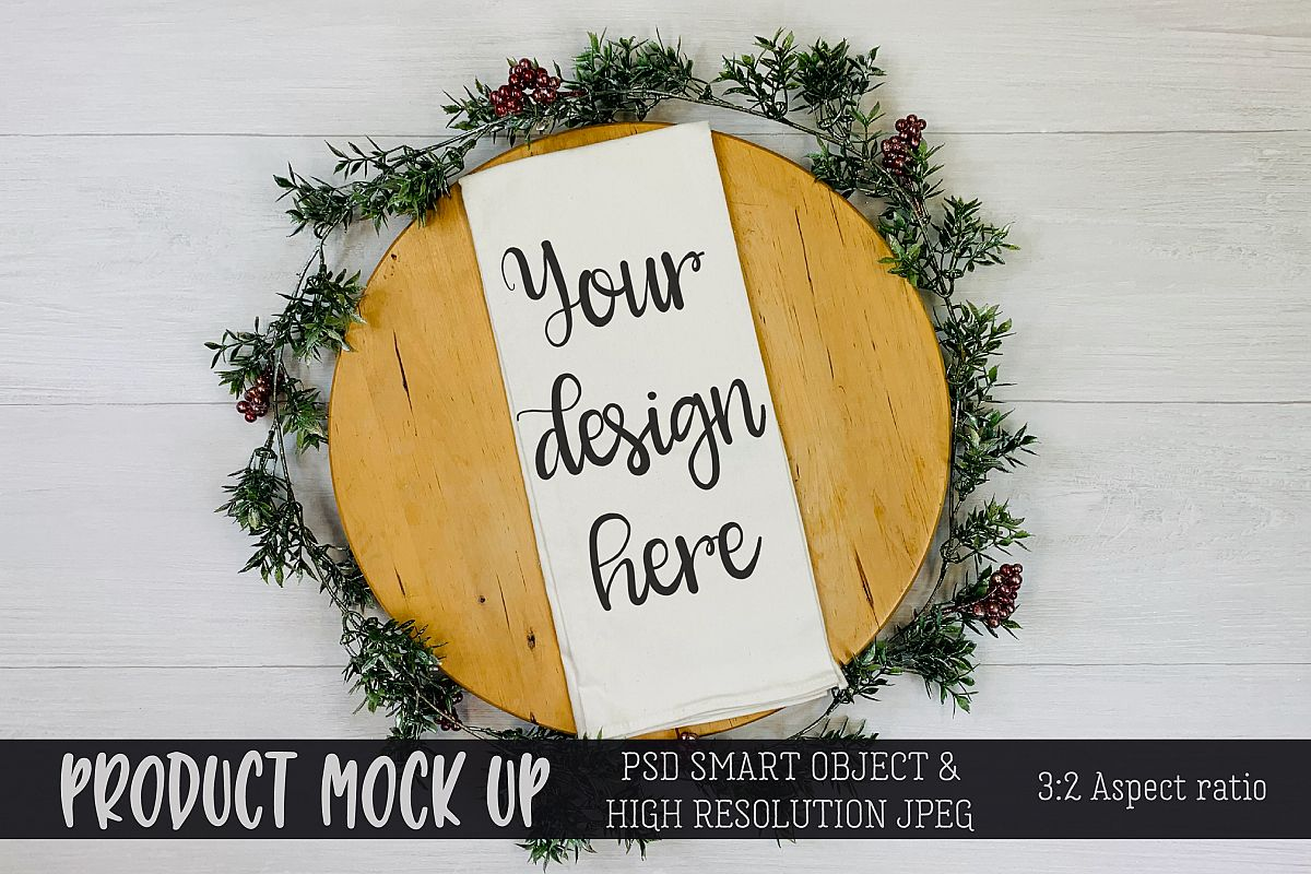 Christmas holiday tea towel craft mock up | PSD & JPEG example image 1