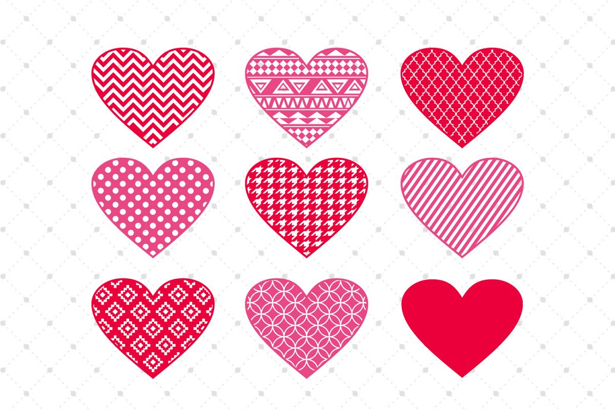 Valentines Day Hearts SVG Cut Files example image 1