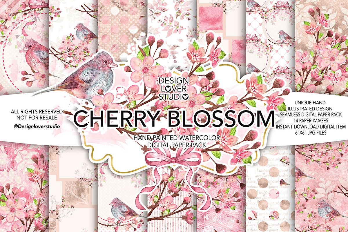 Watercolor CHERRY BLOSSOM digital paper pack example image 1