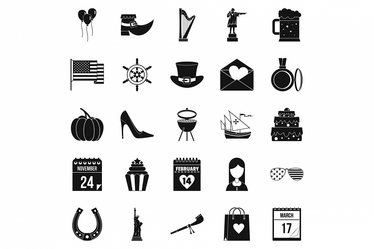 Calendar icons set, simple style example image 1