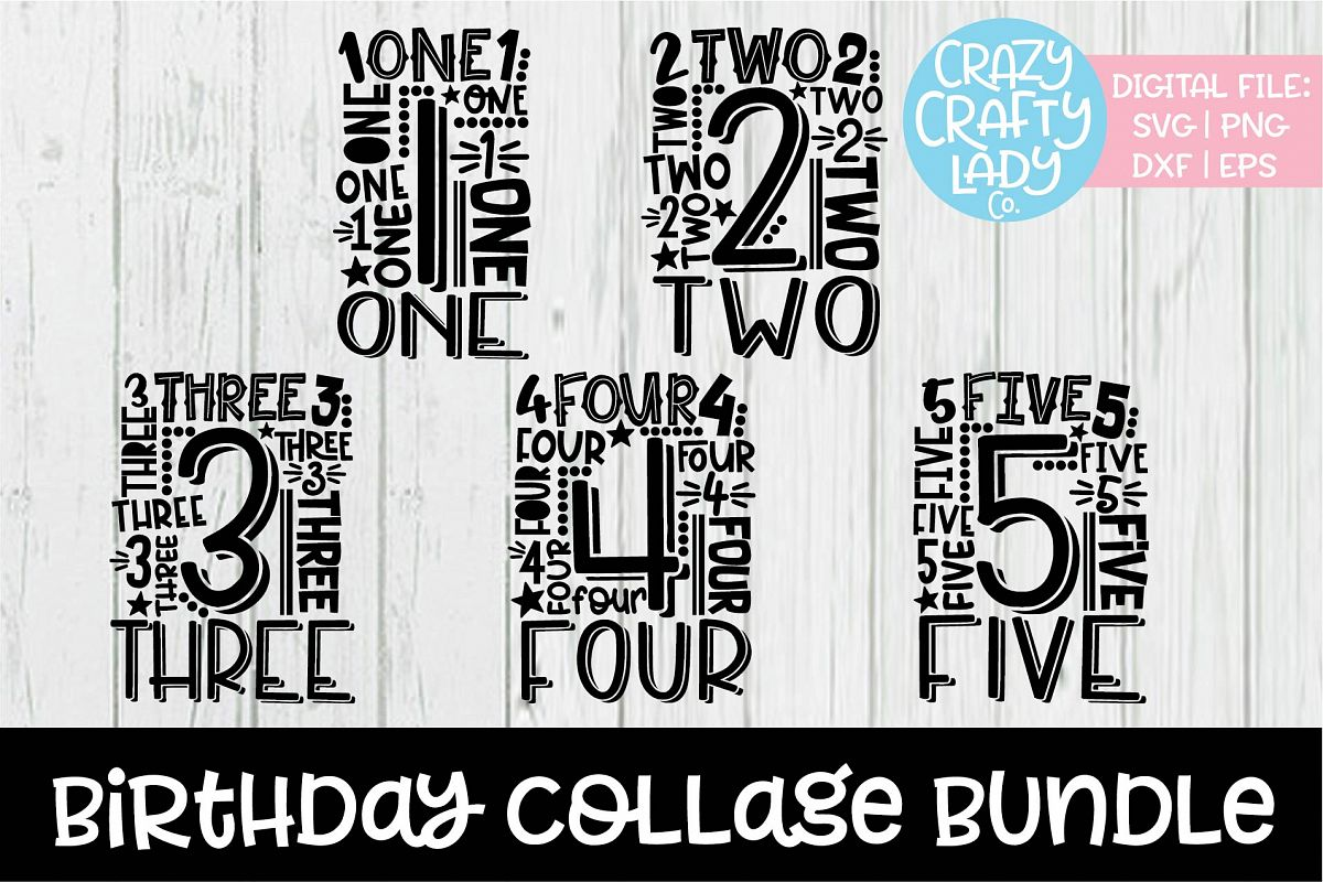 Birthday Collage Typography SVG DXF EPS PNG Cut File Bundle example image 1