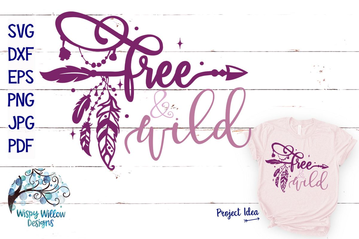 Free and Wild SVG | Boho Feather| Hippie SVG Cut File example image 1
