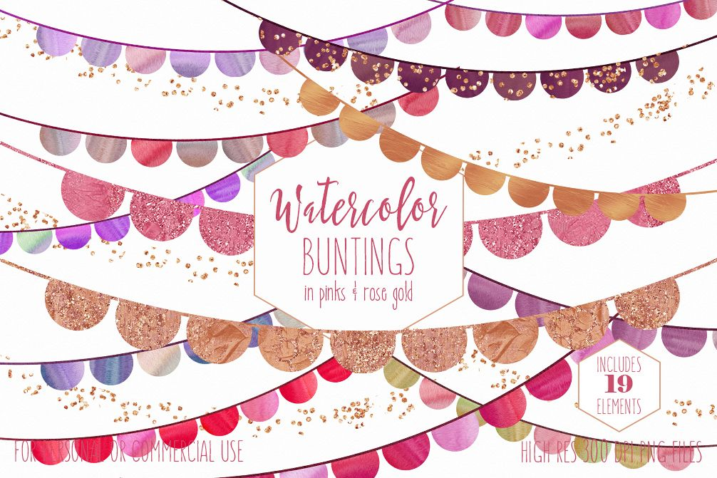 BUNTING BANNER CLIPART Watercolor Clip Art Pink & Rose Gold Half Circles Metallic Glitter Confetti Birthday Party Graphics example image 1
