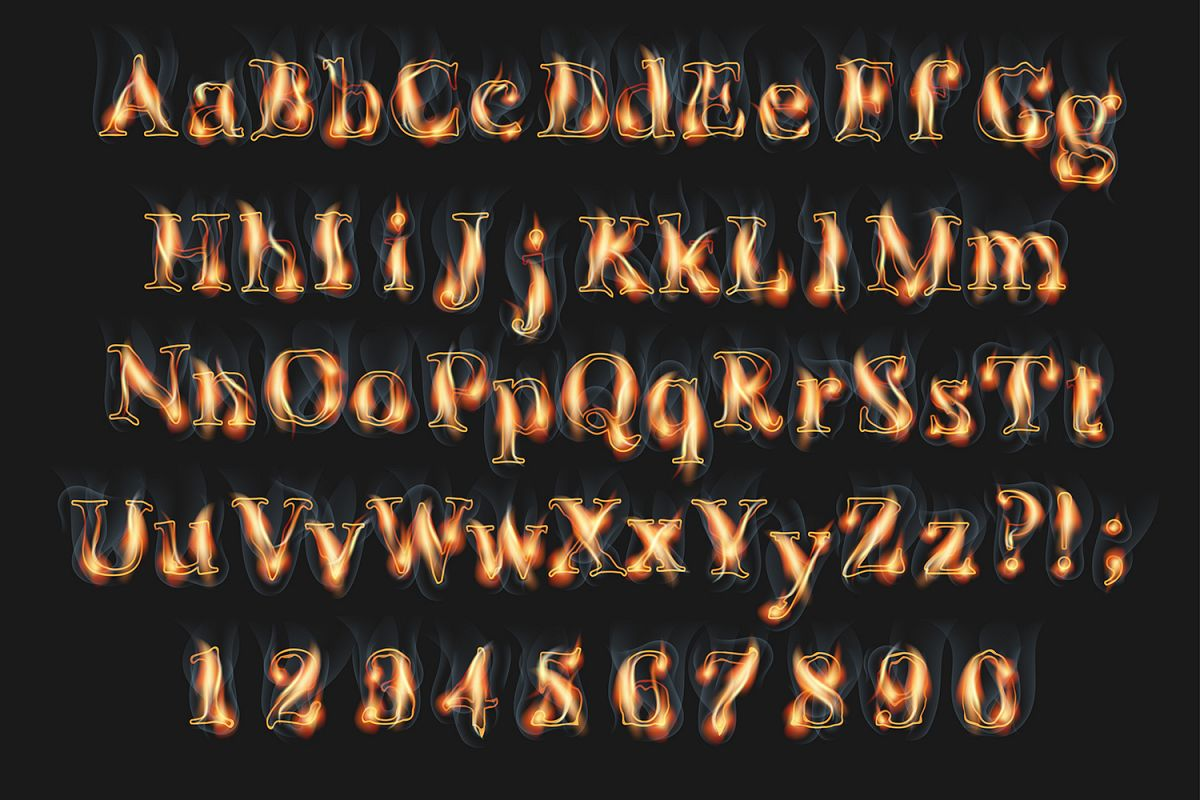 Fire burning alphabet and numbers example image 1
