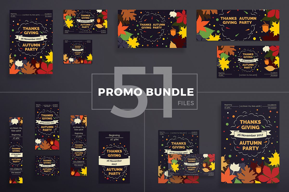 Thanksgiving Autumn Party Design Templates Bundle example image 1