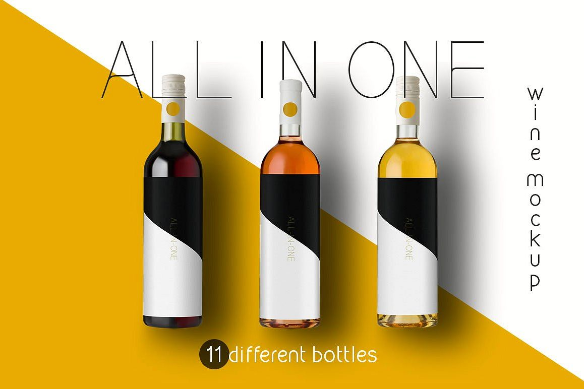 All-In-One Wine Bottle Mockup Free Download