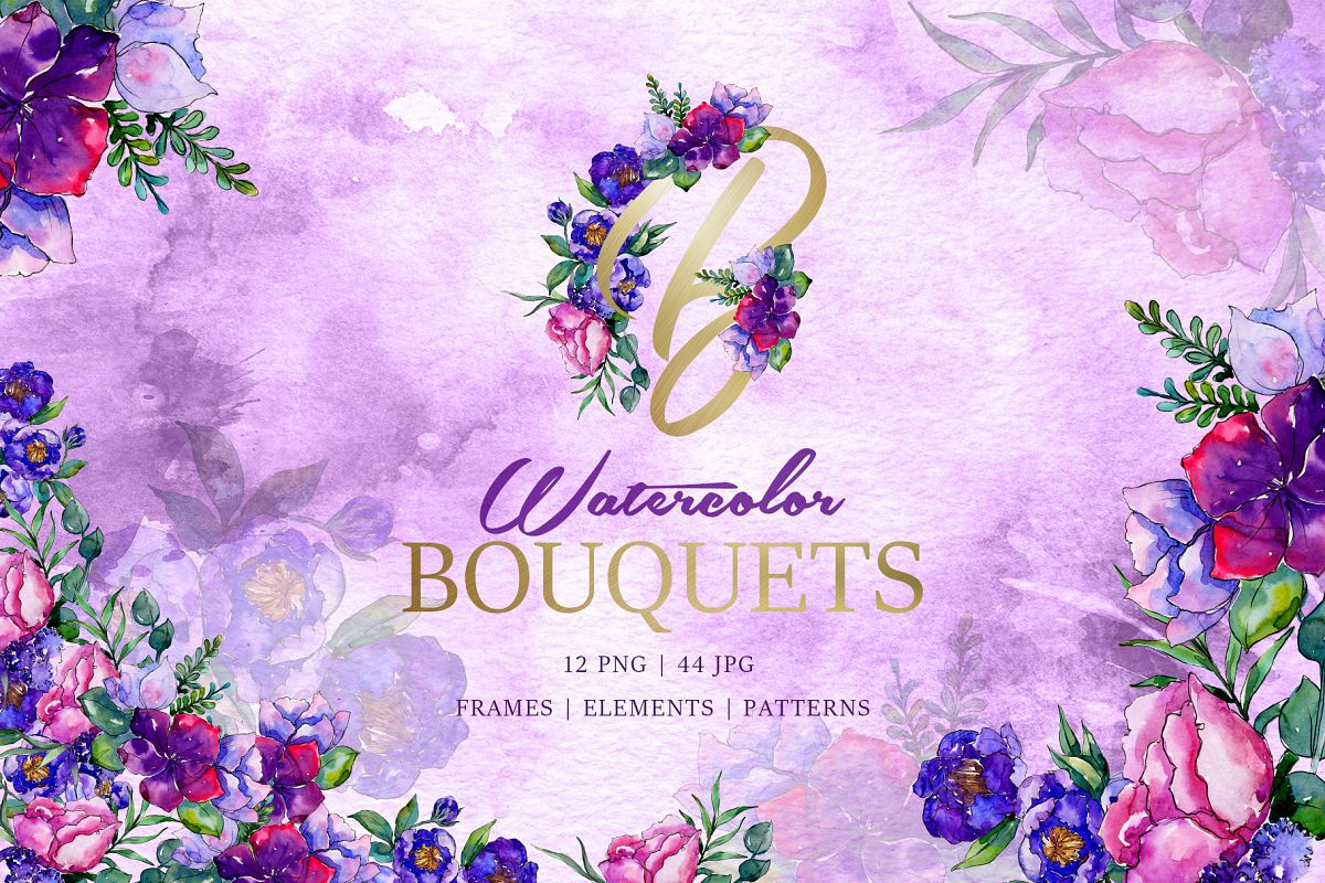 Bouquets of purple flowers Watercolor PNG example image 1