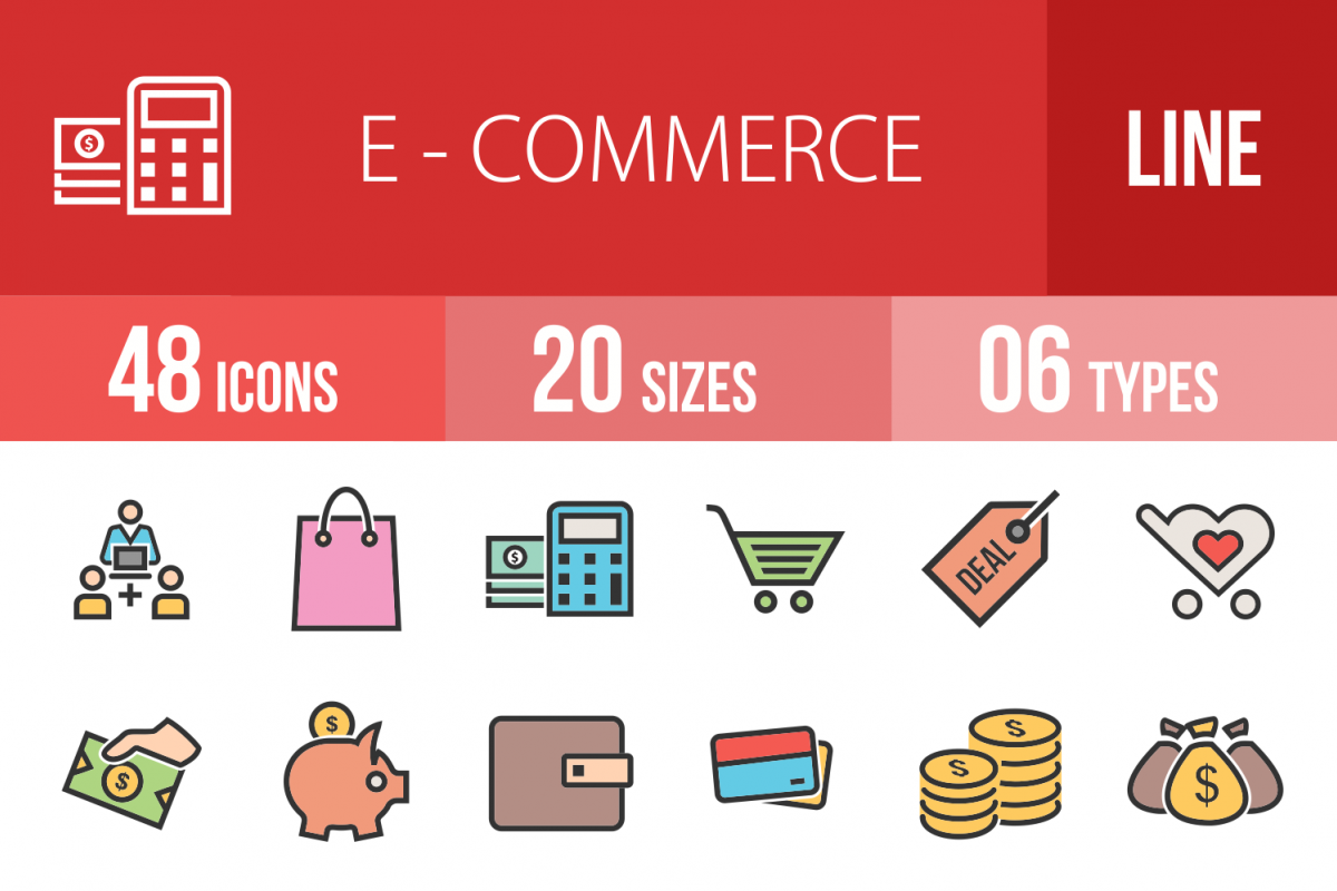 48 Ecommerce Linear Multicolor Icons example image 1