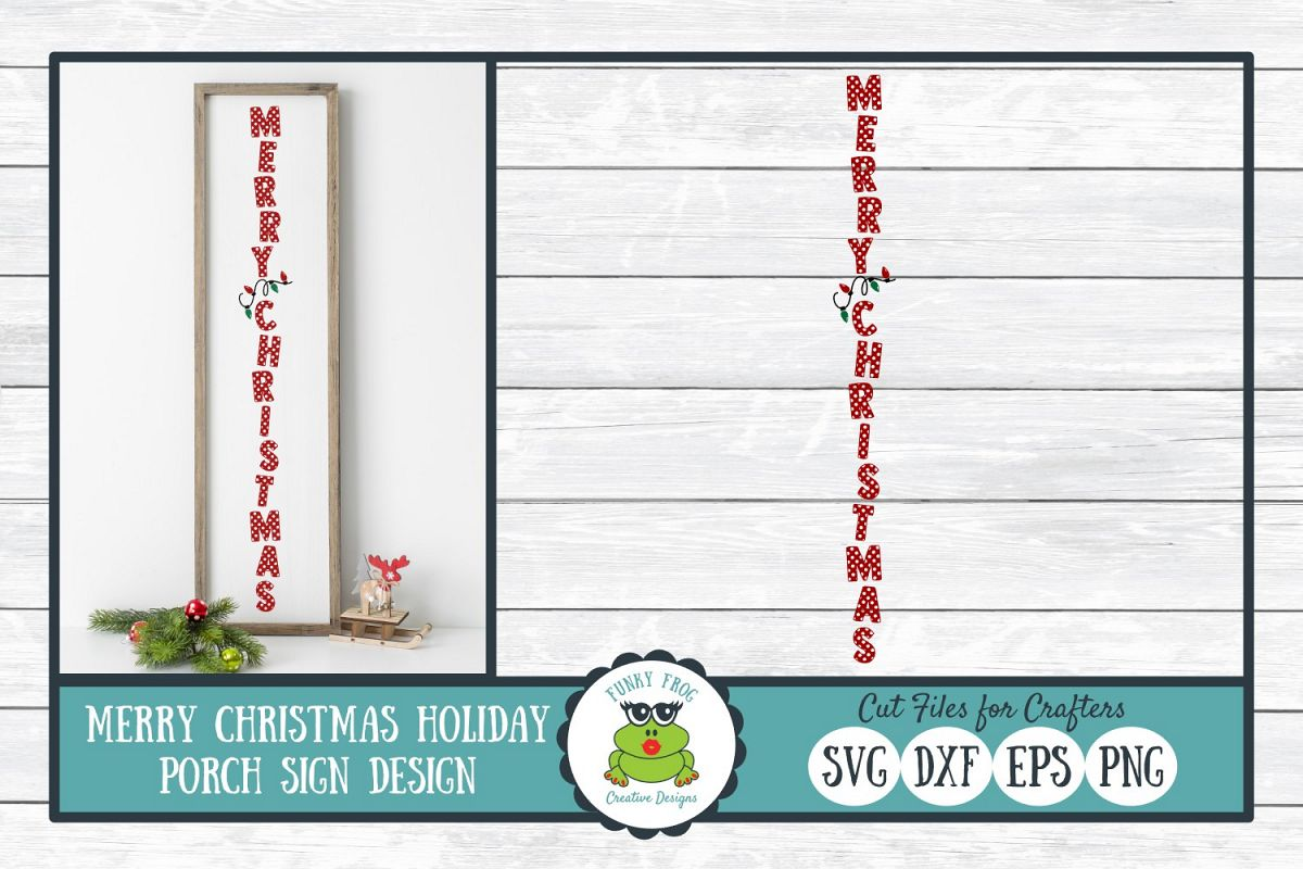 Merry Christmas Holiday Porch Sign Design - Christmas SVG Cu example image 1