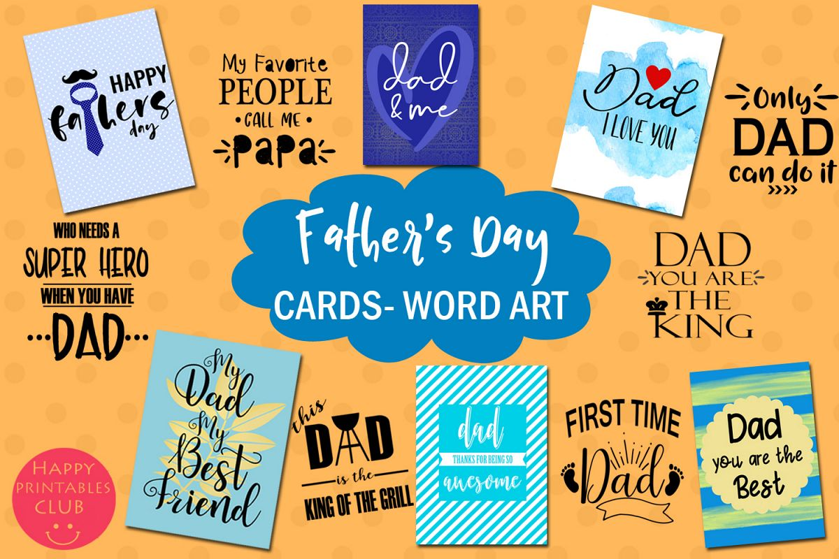 Father's Day Cards-Dad Word Art-Fathers Day Text Overlays example image 1